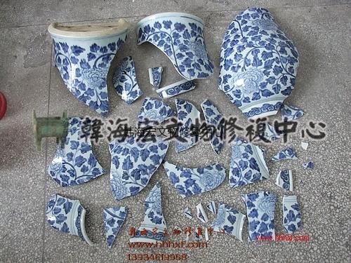 清康熙青花缠枝牡丹纹将军罐修复---韩海宏文物修复中心